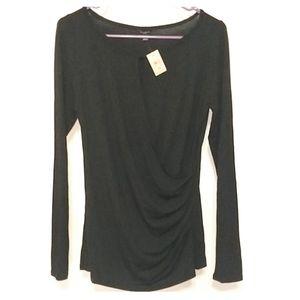 NWTAnn Taylor long sleeve faux wrap keyhole blouse
